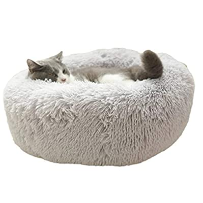 ALLNEO Original Cat and Dog Bed Luxury Shag Fuax Fur Donut Cuddler Round Donut Dog Beds Indoor Pillow Cuddler for Medium Small Dogs (S-20208inch, Light Grey)