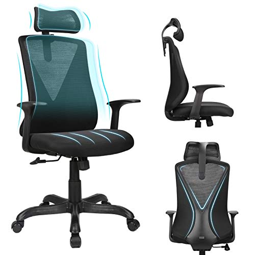 Home Office Chair Ergonomic Desk Chair High Back Mesh Computer Chair with Adjustable Height and Elastic Lumbar Support,Thick Seat Cushion,Executive Swivel Task Chair for Conference Room