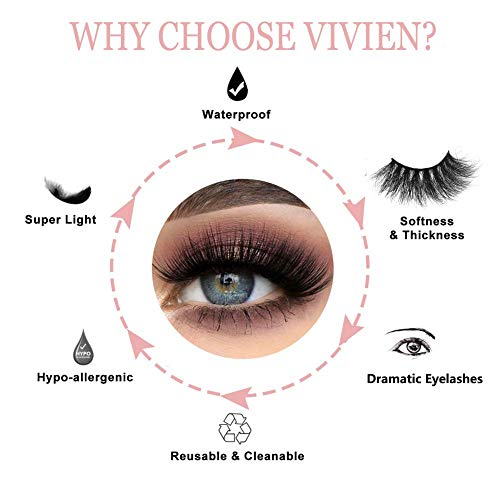 Vivien 5Pairs 5D Mink Lashes, Natural Look Wispy Eyelashes Very Soft and Comfortable, Professional Fake Eyelashes Pack, Handmade Thick Natural Cross Lashes 2