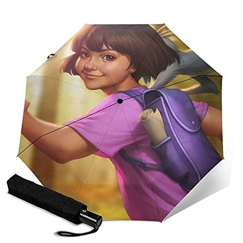 Dora the Explorer Paraguas automático de tres pliegues para proteger el protector solar, resistente al viento, botón automático, unisex