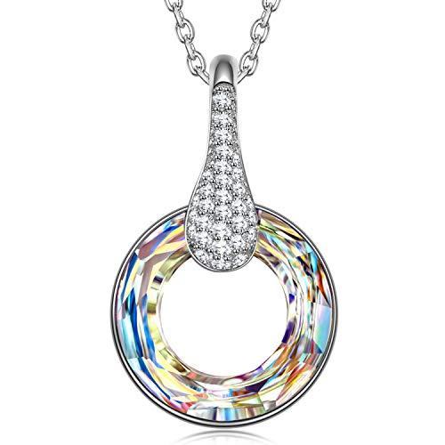 Kate Lynn - Aurora Circle - Collana, Cristallo di Swarovski, Design Originale, Simbolo di mistero e Felicità, Elegante Scatola per Gioielli
