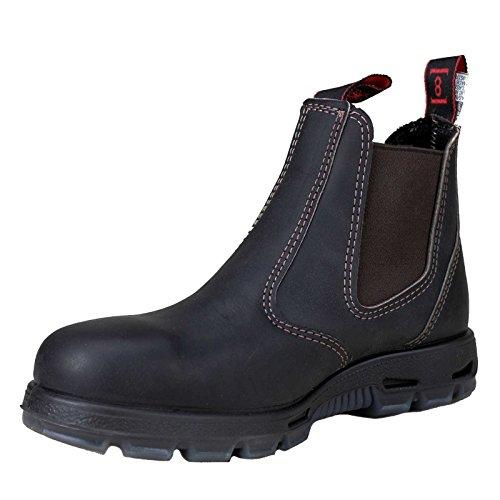 RedbacK Men's Safety Bobcat USBOK Elastic Sided Steel Toe Dark Brown Leather Work Boot (4 AU 3E (5 M US Men))