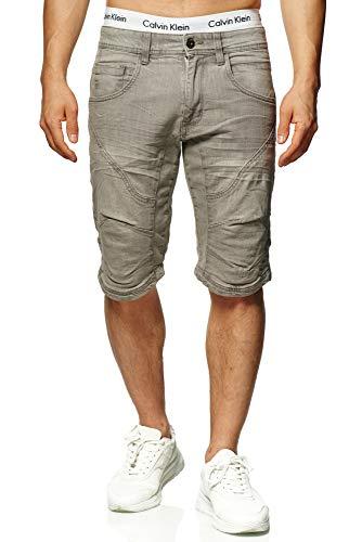Indicode Herren Leon Shorts mit 5 Taschen aus 98% Baumwolle | Kurze Hose Regular Fit Bermuda Stretch Herrenshorts Denim-Optik Men Short Pants Jeans-Look Sommerhose kurz für Männer Lt Grey M