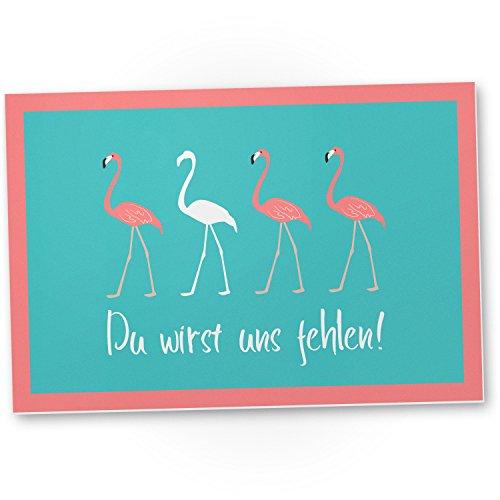 DankeDir! Du wirst Uns fehlen Flamingo - Kunststoff Schild Abschiedskarte Jobwechsel, Geschenkidee Abschiedsgeschenk Kollegen, Geschenk Verabschiedung Kollege - Chef, Abschied Arbeitskollege Büro