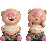 Outdoor Garden Courtyard Statue Decoration Ornament,1 Set Resin Pig Couple Figure Decoration Cute Dashboard Decor Toys Car Ornaments