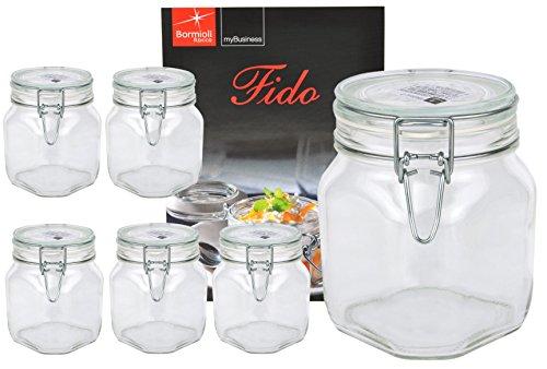 Bormioli Rocco 6X Drahtbügelglas Fido 750 ml I eckige Einmachgläser mit Bügelverschluss - luftdicht verschließbar I Vorratsgläser mit Deckel & Rezeptheft I Vorratsdosen Glas mit Deckel 6 Stück