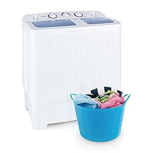 Oneconcept Ecowash XL - Lavadora, minilavadora, con centrifugadora, Carga Superior, Capacidad 4.2 kg, Potencia de Lavado 300 W, Potencia centrífuga 110 W, Ahorro de Agua y energía, Blanco
