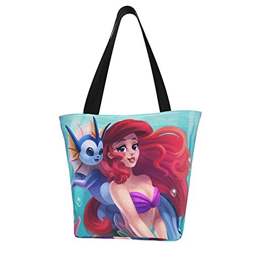 Little Cartoon - Bolsas de hombro para mujer, diseño de sirena, de gran capacidad, multiusos