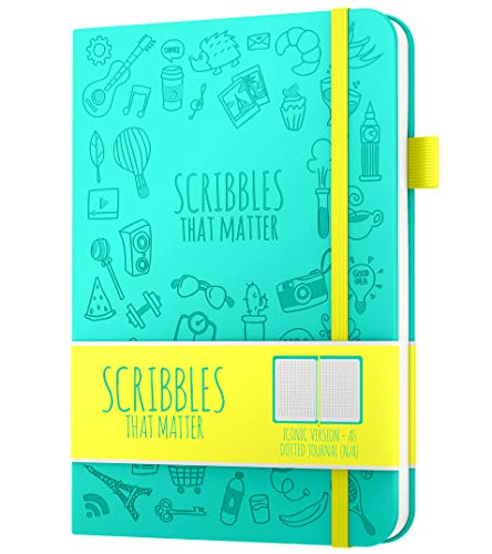 A5 Dotted Journal by Scribbles That Matter - Bullet Dot Grid Notebook - No Bleed Thick Fountain Pens Friendly Paper - Hardcover with Large Inner Pocket - Iconic Version - Teal