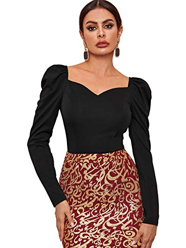 SOLY HUX Damen Bluse Einfarbig Herzausschnitt Blusen Tops Langarmshirts Shirts Puffärmel Oberteile Basic Top Schwarz S