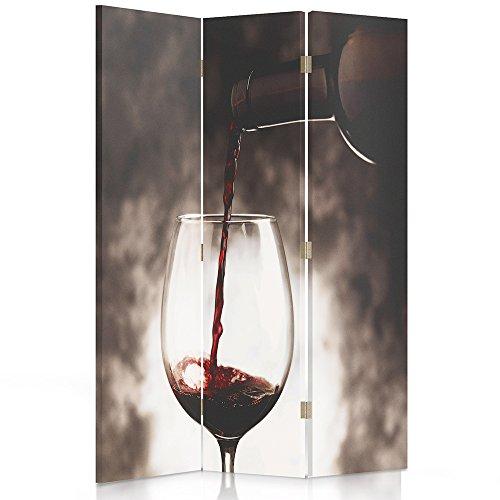 Feeby Frames Paravent déco Verre de vin Image 1 Face 3 pans Rouge 110x150 cm