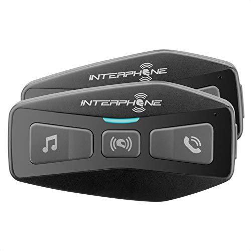 INTERPHONE INTERPHOUCOM2TP | Doppio | Interfono Bluetooth 5.0 da Casco per Moto, Uso, Distanza 600Mt, Autonomia Fino a 12 Ore, Mp3, GPS, Impermeabile IP67, Universale, Gruppo Piloti 2, Set di 2
