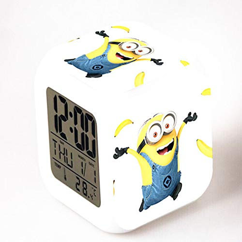 shiyueNB Leuke Minion Digitale wekker, kleurverandering, LED-nachtlampje, horloge voor kinderen, cartoon
