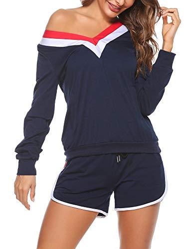 Akalnny Ropa deportiva de Algodón para Mujer de Verano Camiseta de Manga Larga con Cuello en V para Mujeres + Pantalones Cortos a Rayas Ropa Deportiva, Trajes Casuales con Bolsillos(azul marino,L)