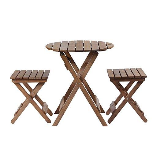 ZXL massief houten klaptafel en stoel 3-delige set, tafel balkon tuin erf vrije tijd Coffee Shop gemakkelijk te dragen | lichtbruine meubels (grootte: EEN vierkante tafel + twee krukken)