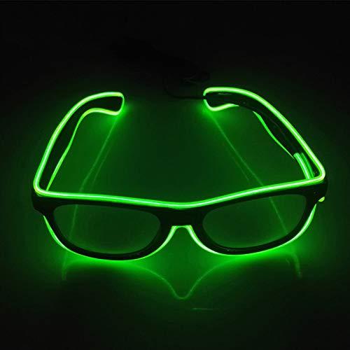San Zhi LED Leuchtend Brille EL Wire Brillen mit Schaltersteuerung, Neuheit Kleid Dekor für Weihnachtsfeier (Grün)