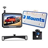 Wireless Backup Camera for Truck Car Pickup Wireless Digital Signal 1080p Night Vision w/ 5' Monitor Vehicle Backup Cameras IP68 Waterproof Rear View Reverse Camera 2 Mounts to Avoid Trunk Handle