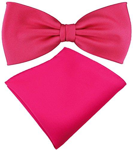 TigerTie TigerTie Satin Fliege + Einstecktuch in pink knallpink leuchtpink Uni einfarbig + Geschenkbox