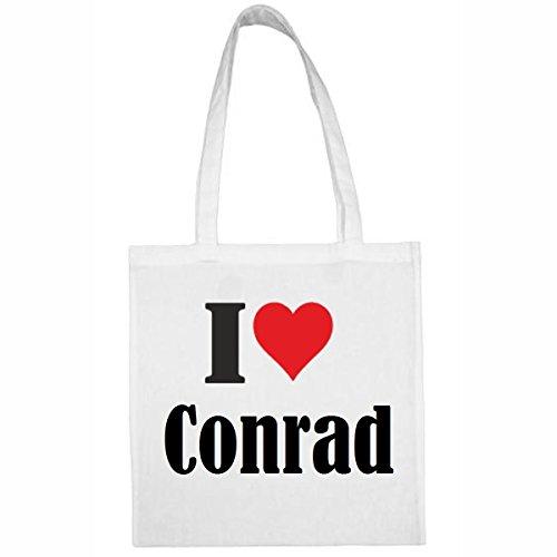 Tasche I Love Conrad Größe 38x42 Farbe Weiss Druck Schwarz