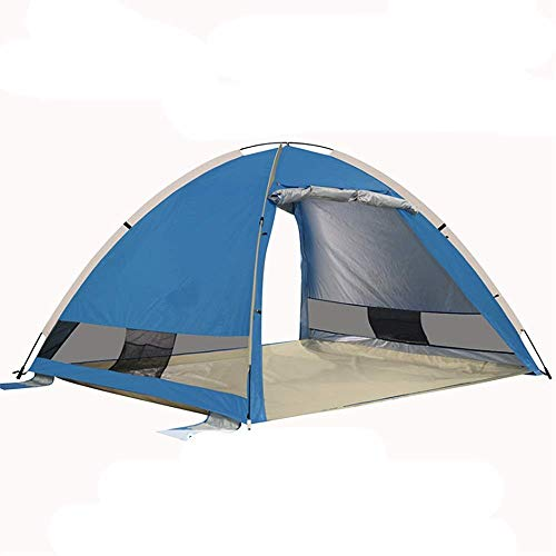 ZRWEL Travel mountaineering tent Ultra-light Awning Cabin Tent With 3-4 People Pop-up Beach Tent Portable Sunscreen Awning Suitable for family camping hiking and hiking tent (Color : Dark Blue)