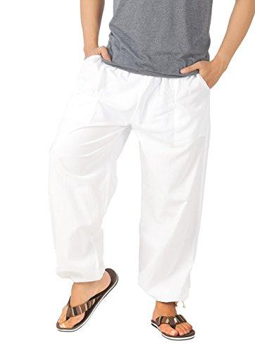 CandyHusky Men Casual Lounge Jogging Workout Yoga Pants Elastic Waist Drawstring (XL/XXL, White)
