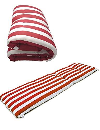 Cisne 2013, S.L. Cuscino materasso per sedia a sdraio o mobile per giardino, spiaggia, esterno Cuscino morbido per sedia, terrazza, ecc. Dimensioni: 180 x 50 x 8 cm. Motivo a righe rosse e bianche
