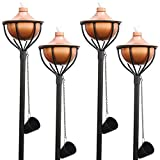 Dusq | 4-in-1 Outdoor Garden Torches/Tiki Torch, Use with Regular or Citronella Torch Fuel (4-Pack, Copper)