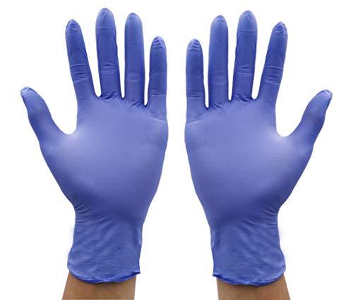 WFTD Nitril Einmalhandschuhe, puderfrei verdicken Laborschutzhandschuhe, Salon Haarfarbe Farbstoff Handschuhe blau, Box 100,M