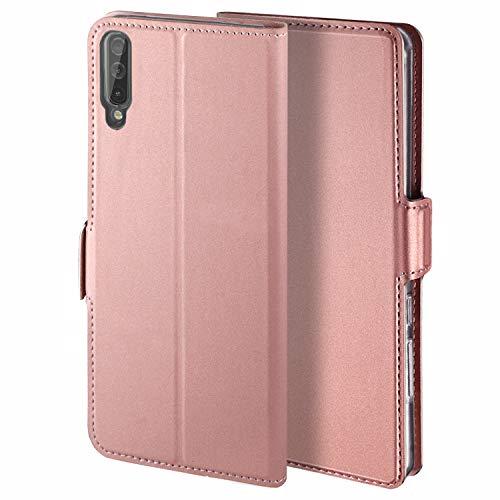 HoneyHülle für Handyhülle Samsung Galaxy A50 Hülle Premium Leder Flip Schutzhülle für Samsung Galaxy A50 Tasche, Rose Gold