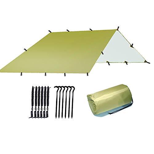 JTRHD Refugio De Tienda De Lona Acampar al Aire Libre de la Playa Lona de protección Solar Multifuncional Camping Lona Carpa Camping Viajes Al Aire Libre (Color : Light Army Green, Size : 300X300cm)
