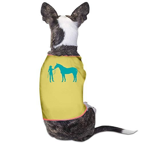 Arehji Sudadera con capucha para cachorros, diseo de vaquera y caballo, color amarillo, talla L