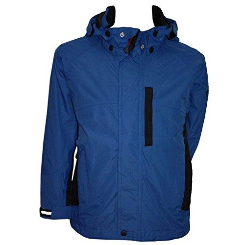 Outburst - Regenjacke Jungen 3.000mm Wassersäule wasserdicht Überjangsjacke, blau-schwarz, Größe 140