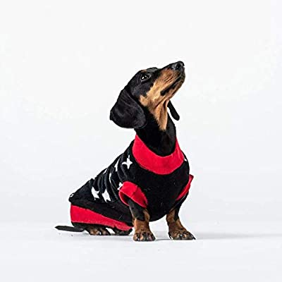 Dogsnug Fleece Dog Jumper Winter Sweater Coat Water Repellent Rainproof Dachshunds Corgis Jack Russells Chihuahuas Yorkies (Long & Slim - XS, Red & Black Stars)