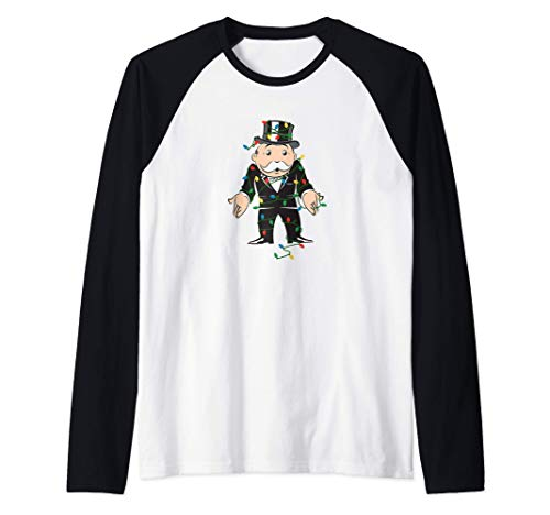 Monopoly Christmas Rich Uncle Pennybags Lights Portrait Camiseta Manga Raglan