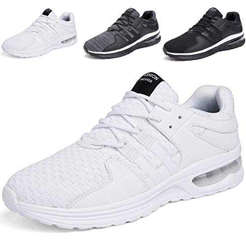 JACKSHIBO Laufschuhe Herren Sportschuhe Straßenlaufschuhe Sneaker Joggingschuhe Turnschuhe Walkingschuhe Traillauf Fitness Schuhe (Weiß,44EU)