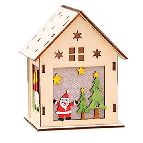 Cloudsemi Weihnachten Holzhäuser DIY Holzhaus LED Weihnachtshäuser Dekoration Haus RGB Leuchtung Anhänger Häuschen Weihnachtsdeko Fensterdeko Licht Party Basteln Kinder Geschenk
