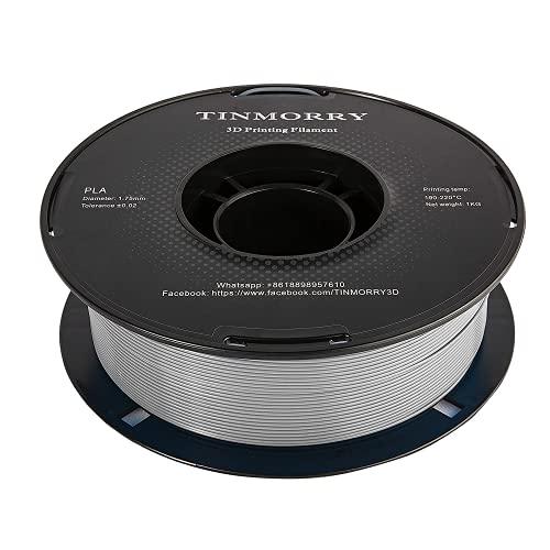PLA Filament 1.75mm for 3D Printer, TINMORRY PLA Filament 3D Printing Materials 1KG, 1 Spool, Silver