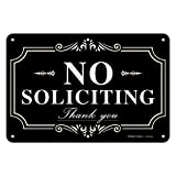 No soliciting Sign for House,Home/Business,12x8 Inch Rust Free Aluminum Metal Sign,Reflective,Fade Resistant,Durable UV and Weather Resistant,Black with White Letters