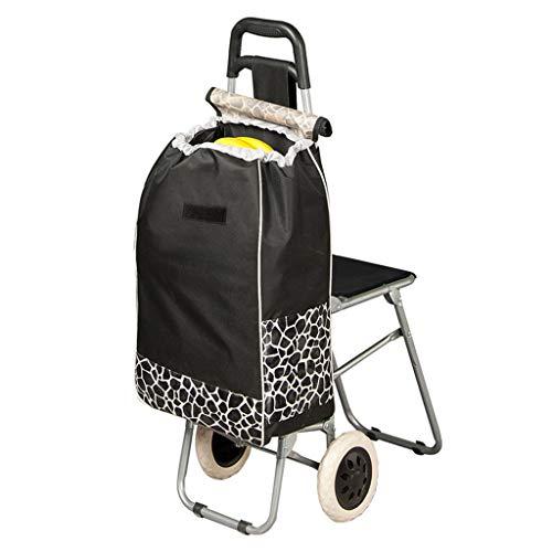 Modische Schwarz Folding Ältere Einkaufswagen mit Sitz für Menschen, Supermarkt Einkaufswagen, Leicht Einkaufswagen, Strapazierfähige & Klappbar für einfache Lagerung