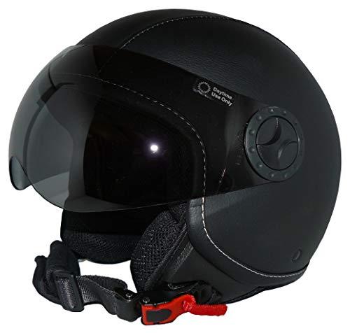 Protectwear Jethelm Motorradhelm H710 mit schwarzen Kunstlederüberzug im Pilotendesign - M