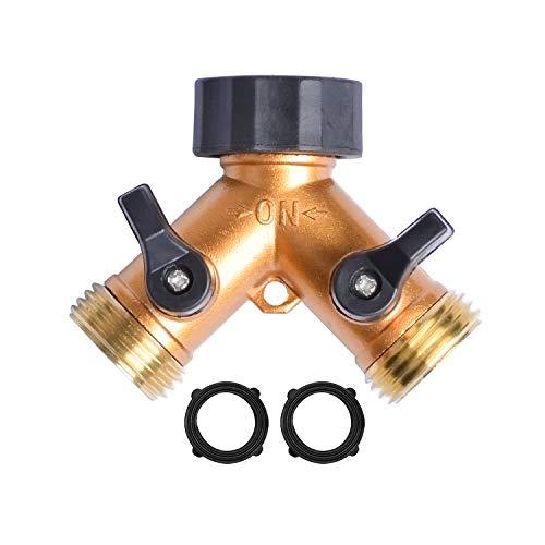 "HYDRO MASTER 2 Ways Garden Hose Splitter,3/4"" Garden Hose Spigot Adapter with 2 Valves,Fits All Garden Hose."