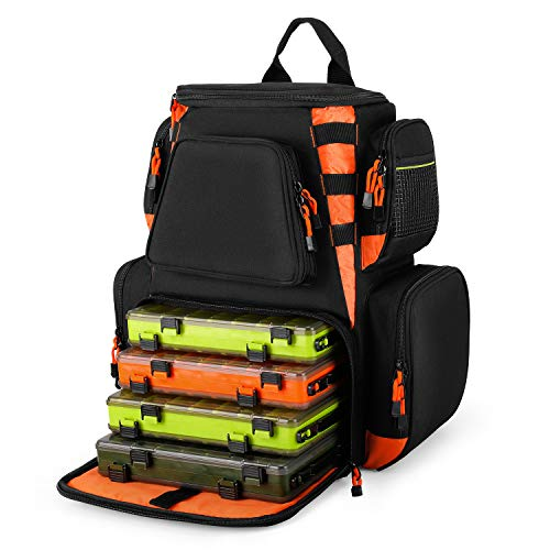 Magreel Fishing Tackle Backpack Waterproof Tackle Bag with 4 Tackle Boxes (3600)