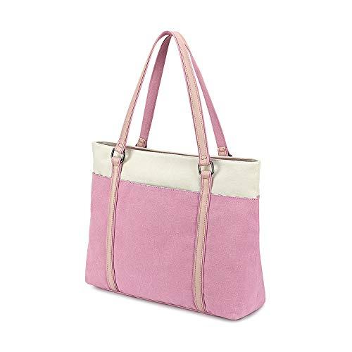 Plambag Women's Laptop Tote Bag, Canvas 15.6' Computer Work Office Handbag (Pink)