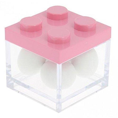 takestop® Set van 12 snoepjes snoepjes doos roze bouwdoos 4,5 x 5 x 4,5 cm plexiglas gastgeschenk doop geboorte