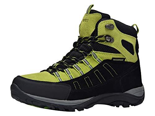 riemot Botas de Senderismo y Campo para Mujer Hombre, Zapatillas Altas de Trekking Zapatos de Montaña Escalada Aire Libre Calzado Impermeable Ligero Antideslizantes Sneakers, Verde Negro EU 42