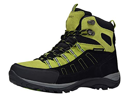 riemot Men's Waterproof Hiking Boots Lightweight Outdoor Trail Walking Boots Black Green 12
