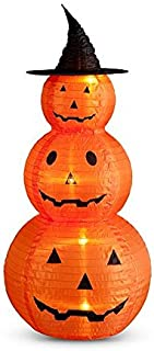 Pre Lit Pop Up Pumpkin Stacker Jack O' Lanterns With Witch Hat Outdoor Halloween Porch Decoration