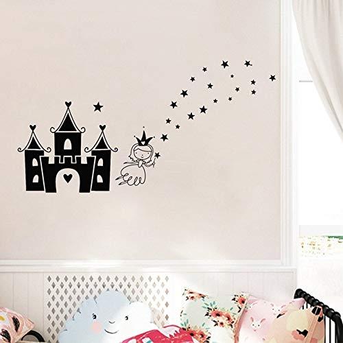 Stycars® Wall Sticker, Princess Castle Removable DIY PVC Cartoon Baby Nursery Bedroom Decorations [Size: 70x120 CM]