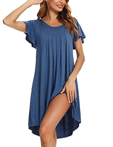 NA Camison Mujer, Camisones Mujer Camisón de Mujer de Manga Corta Algodon Modal Camisón para Mujer Verano con Volantes, Camisón Mujer Dobladillo Irregular Pijama Vestido para Hogar Lago Azul S