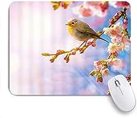 ゲーミングマウスパッド、アジアスタイルの花と鳥の桜木の枝に止まった鳥楽しみサンシャインロマンスアート、ノンスリップゴムバッキングマウスパッドノートブックコンピューターマウスマット